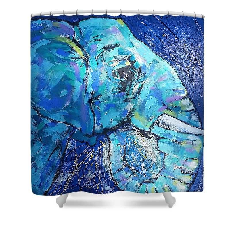 Elephant #1 Side View Shower Curtain featuring the painting Elephant #1 by Arrin Burgand
