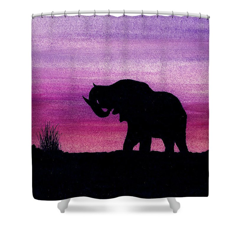 Animals Shower Curtain featuring the painting Elephant At Dusk - Silhouette by Michael Vigliotti
