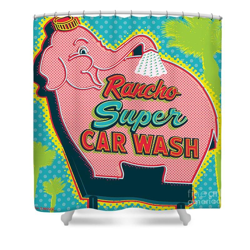 Car Poster Digital Art Shower Curtains