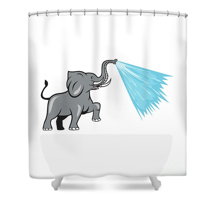 Elephant Shower Curtain Featuring The Digital Art Marching Spraying Water Cartoon By Aloysius Patrimonio