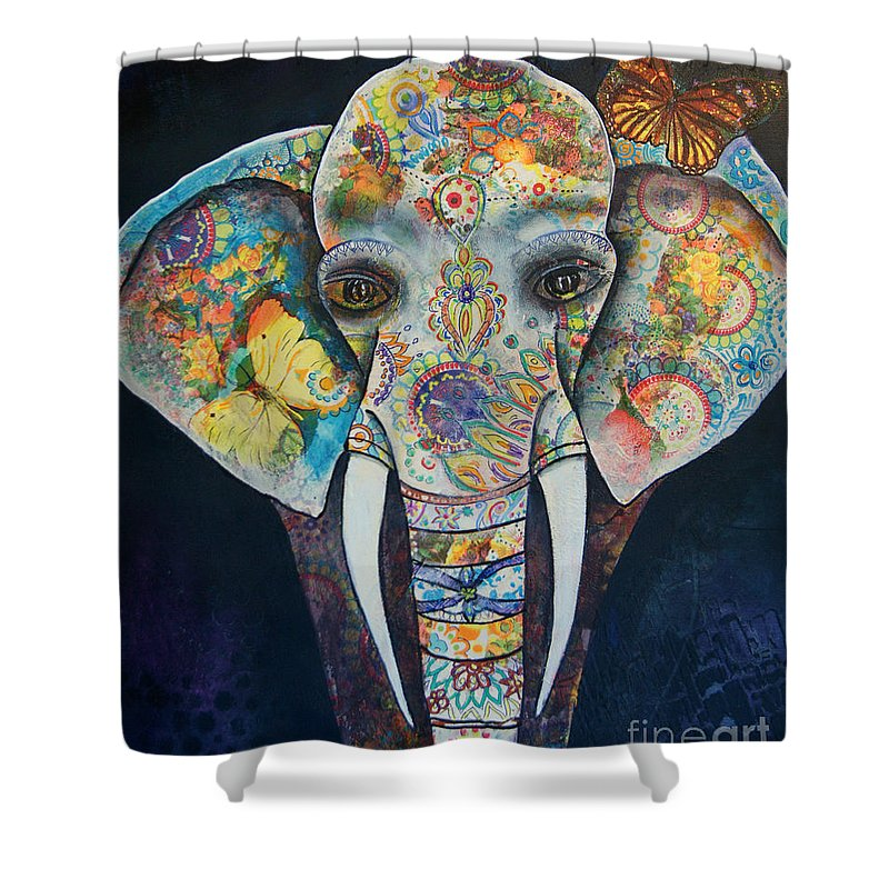 Elephant Shower Curtain featuring the painting Elephant Mixed Media 2 by Reina Cottier