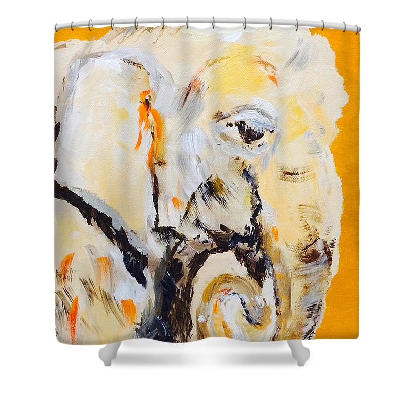 Elephant Shower Curtain featuring the painting Elephant Orange by Gary Price