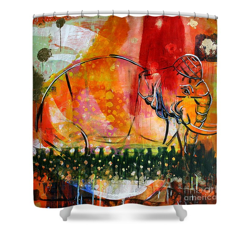 Animal Shower Curtain featuring the painting Elephante 2 by Scott Dykema