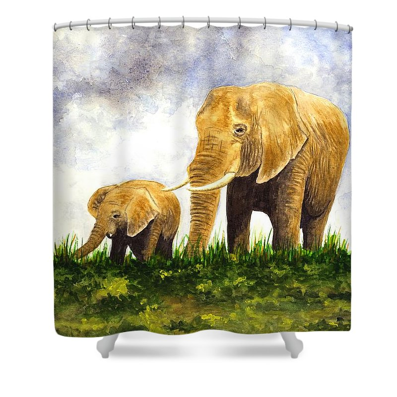 Elephant Shower Curtain featuring the painting Elephants - Mother And Baby by Michael Vigliotti