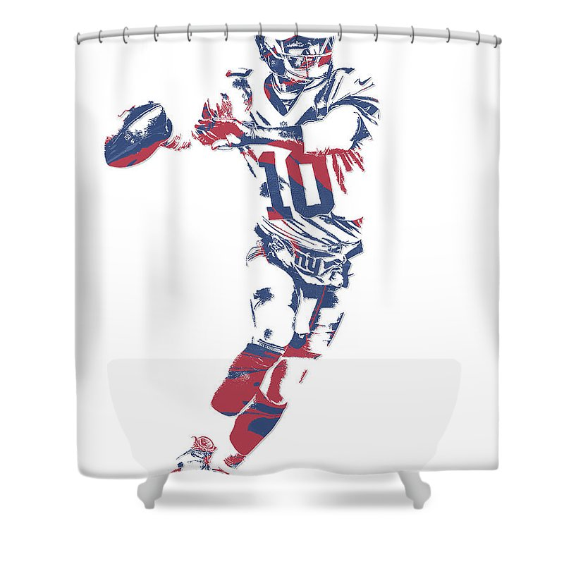 Eli Manning Shower Curtain Featuring The Mixed Media New York Giants Pixel Art 10