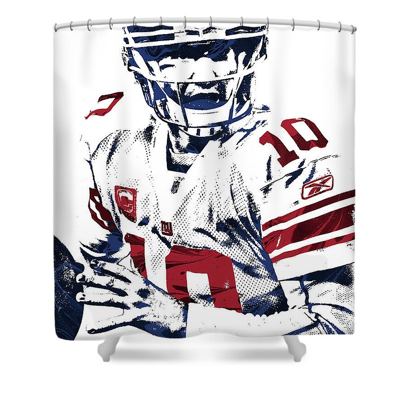 Eli Manning Shower Curtain Featuring The Mixed Media New York Giants Pixel Art 5