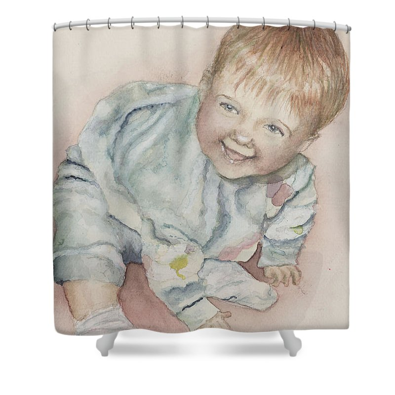 Girl Shower Curtain featuring the painting Elise by Nadine Rippelmeyer