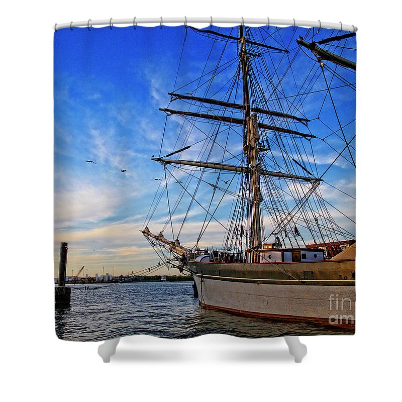 Sailing Ship Shower Curtain featuring the photograph Elissa Sailing Ship by TN Fairey