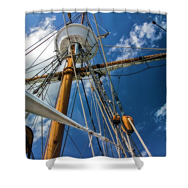 Boat Shower Curtain featuring the photograph Elizabeth II Mast Rigging by Greg Reed