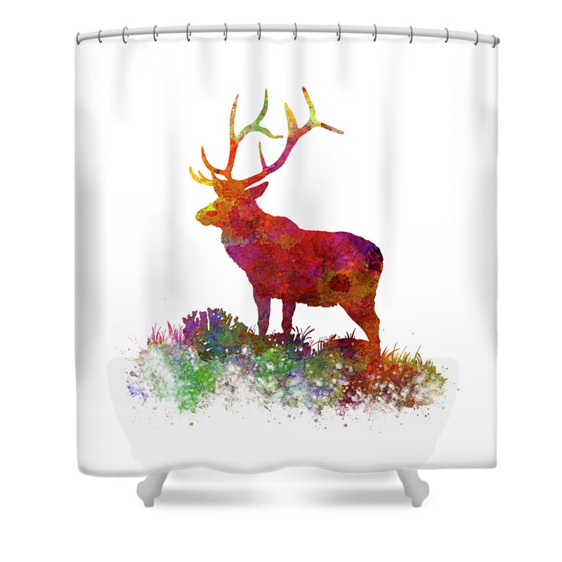 Elk Shower Curtain Featuring The Painting 02 In Watercolor By Pablo Romero
