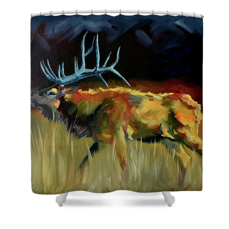 Elk Shower Curtain Featuring The Painting Shout Out By Diane Whitehead