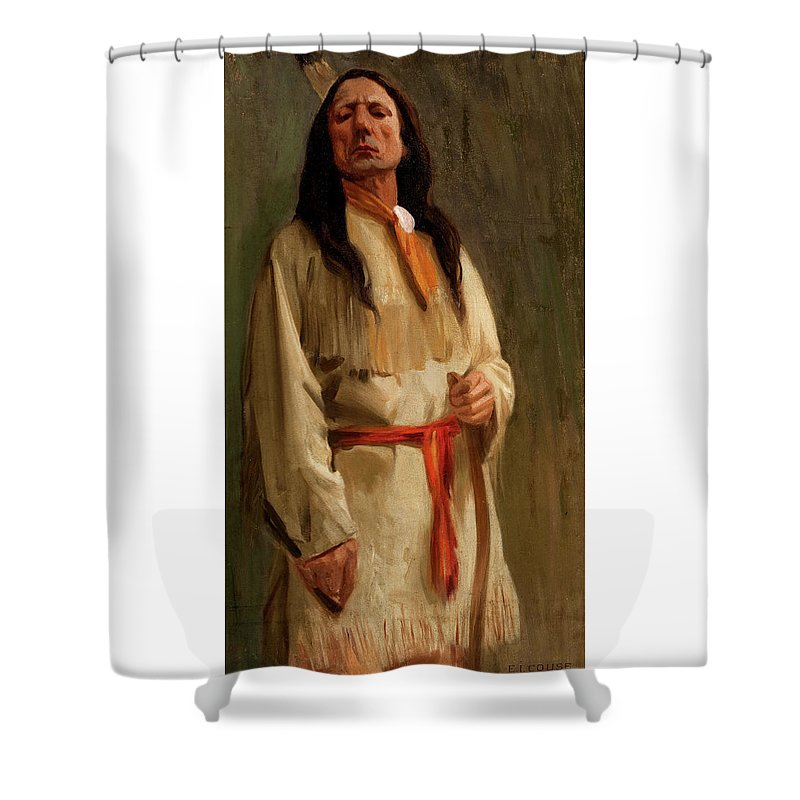 Eanger Irving Couse Shower Curtain featuring the painting Elkfoot Of The Taos Tribe by Eanger Irving Couse