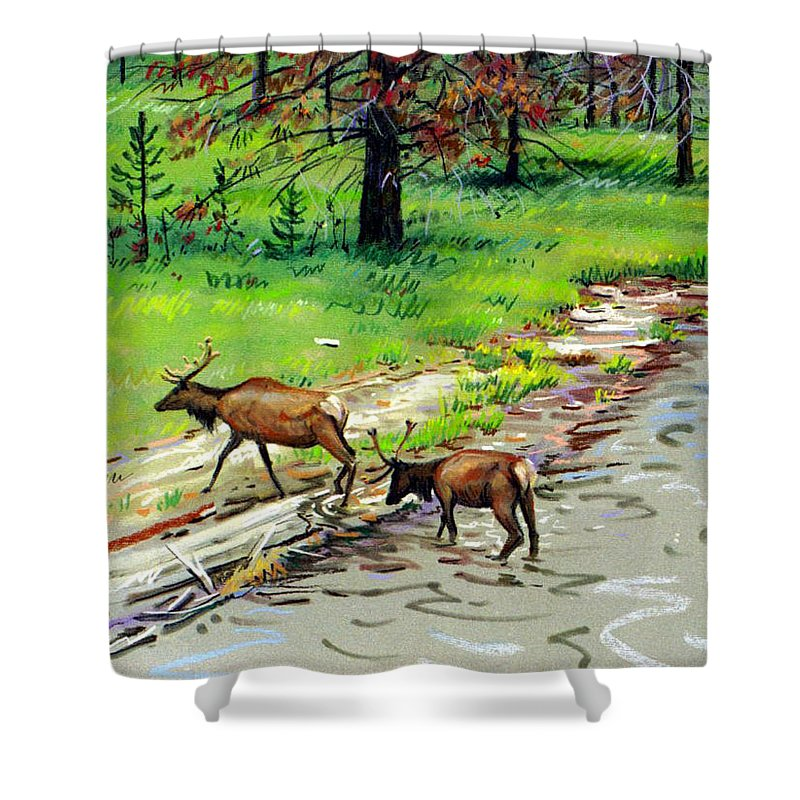 Elks Shower Curtain featuring the painting Elks Crossing by Donald Maier