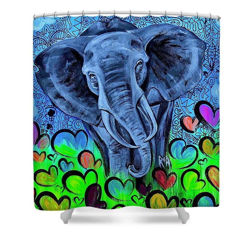 Elephant Shower Curtain featuring the painting Elley by Artist RiA