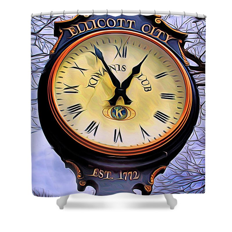 Ellicott Shower Curtain featuring the digital art Ellicott City Clock by Stephen Younts