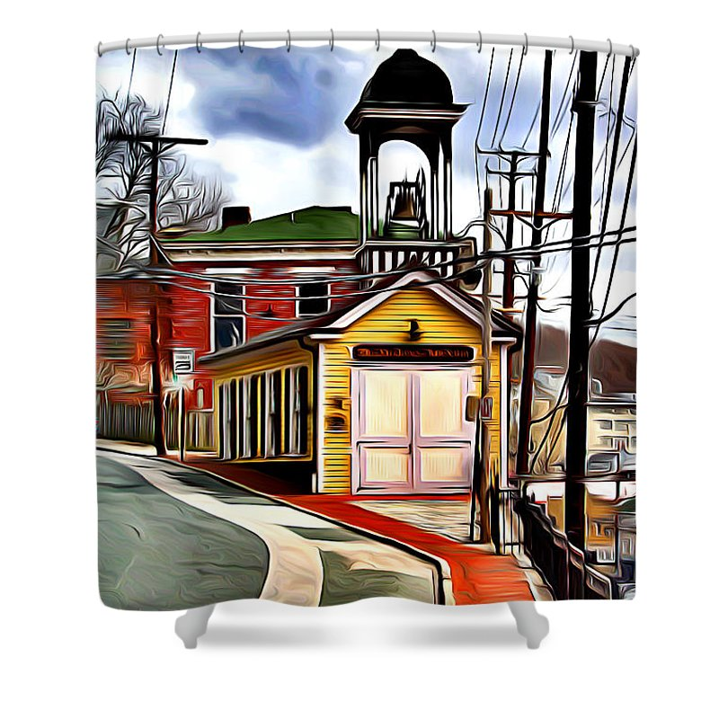 Ellicott Shower Curtain featuring the digital art Ellicott City Fire Museum by Stephen Younts