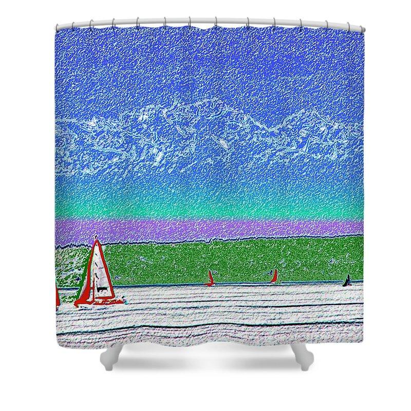Seattle Shower Curtain featuring the digital art Elliott Bay Sail by Tim Allen