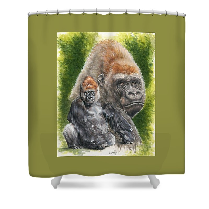 Gorilla Shower Curtain featuring the mixed media Eloquent by Barbara Keith