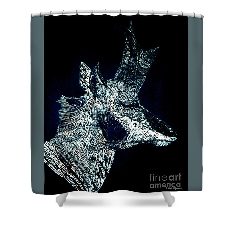 Wildlife Shower Curtain featuring the mixed media Elusive Visions Antelope Buck by Dale Jackson