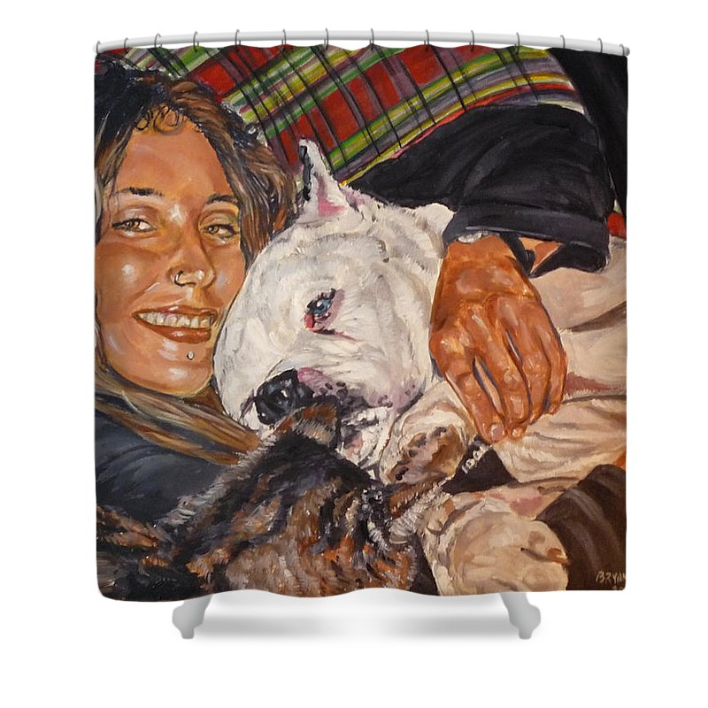 Pet Shower Curtain featuring the painting Elvis And Friend by Bryan Bustard