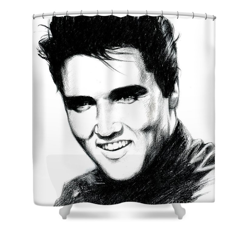 Elvis Shower Curtain Featuring The Drawing By Lin Petershagen