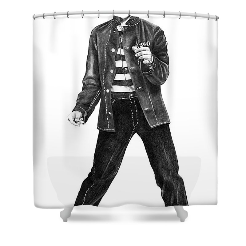 Elvis Shower Curtain featuring the drawing Elvis Presley  by Murphy Elliott