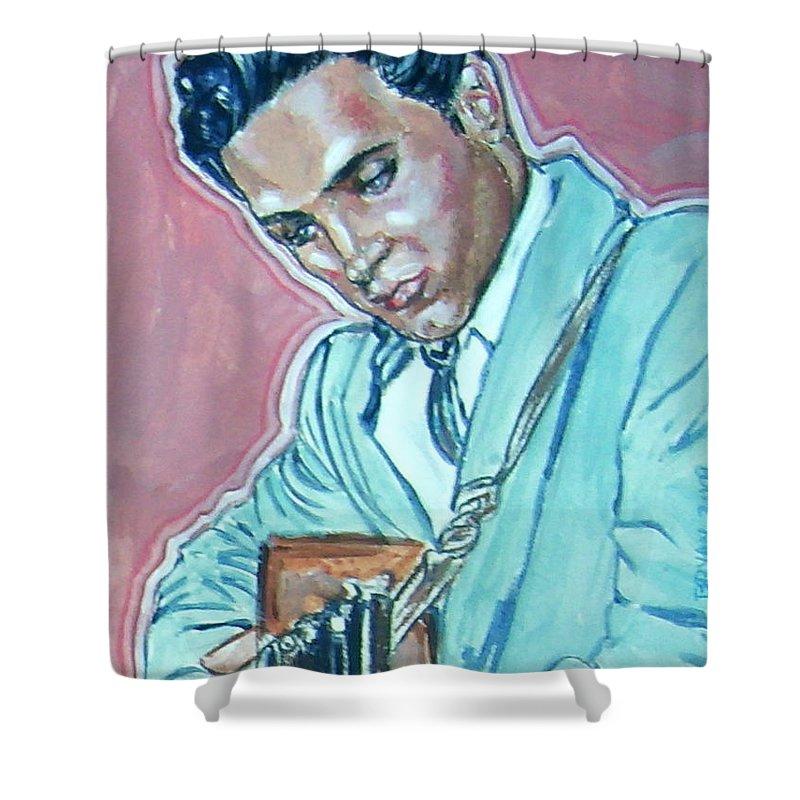 Elvis Presley Shower Curtain featuring the painting Elvis Presley by Bryan Bustard