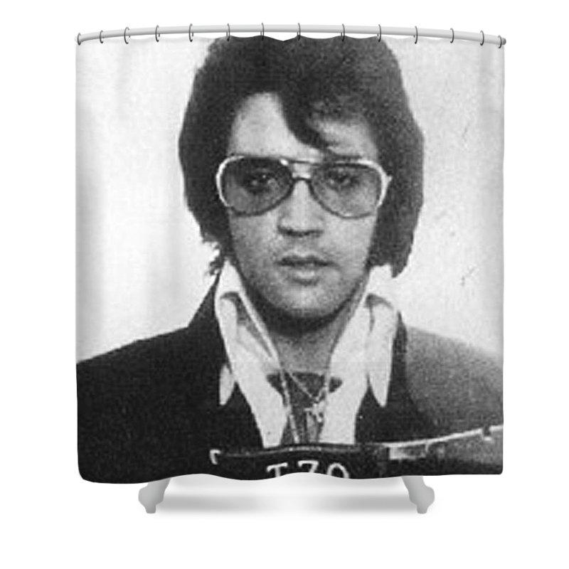 Elvis Presley Shower Curtain featuring the painting Elvis Presley Mug Shot Vertical by Tony Rubino