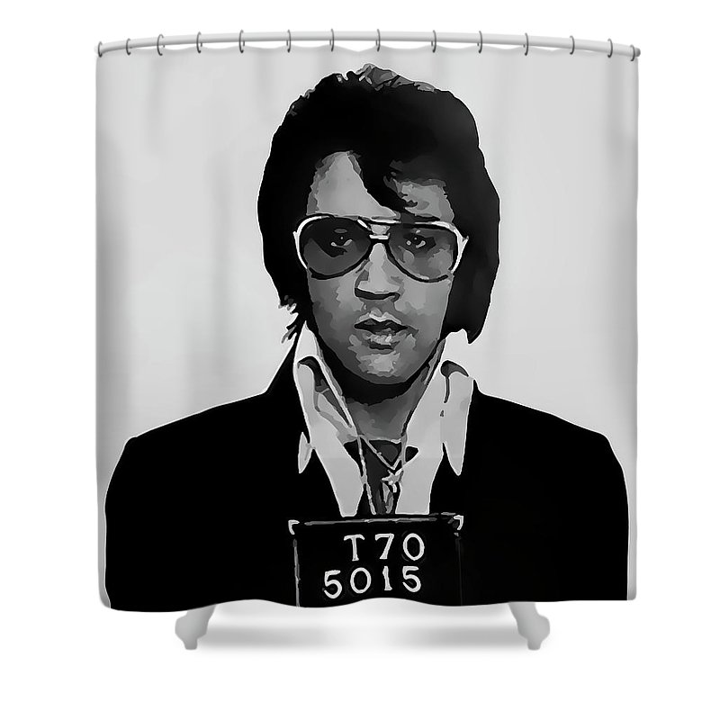 Elvis Shower Curtain Featuring The Digital Art Presley Mugshot 1970 By Daniel Hagerman