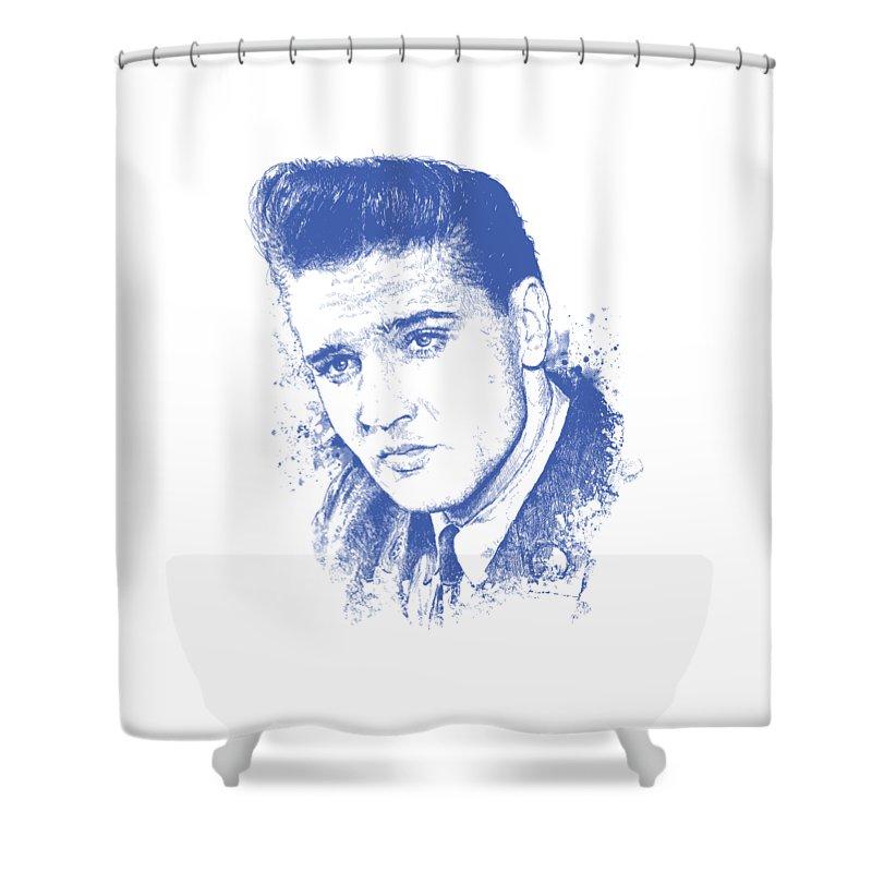 Chadlonius Shower Curtain Featuring The Digital Art Elvis Presley Portrait By Chad Lonius