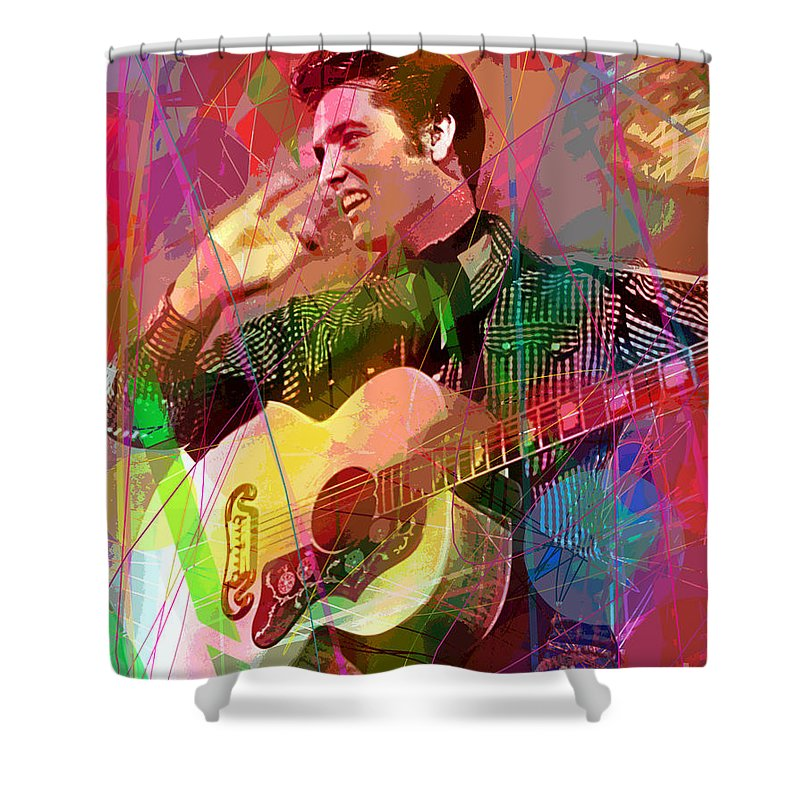 Elvis Shower Curtain featuring the painting Elvis Rockabilly by David Lloyd Glover