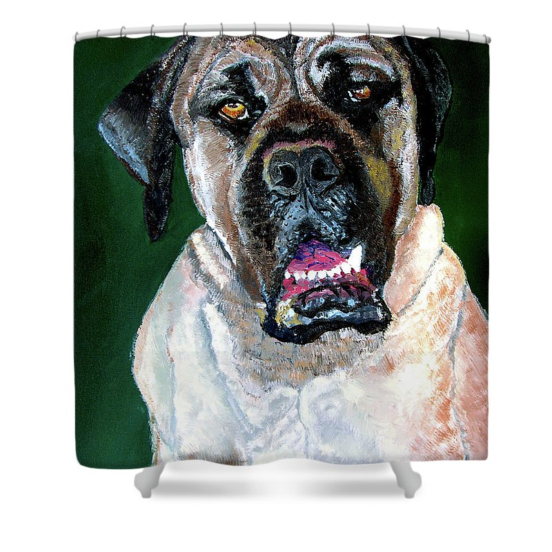 Dog Portrait Shower Curtain featuring the painting Ely by Stan Hamilton