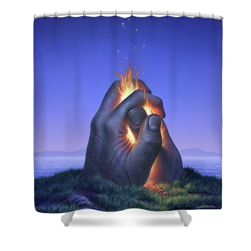 Fire Shower Curtain Featuring The Painting Embers Turn To Stars By Jerry LoFaro