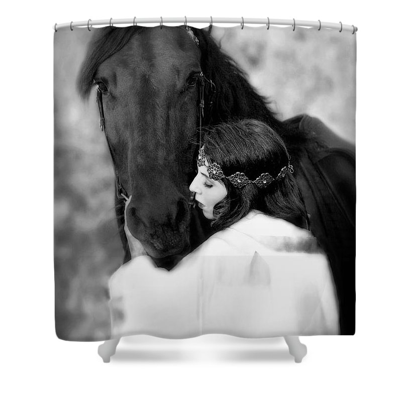 Horse Shower Curtain featuring the photograph Embrace by Jean Hildebrant