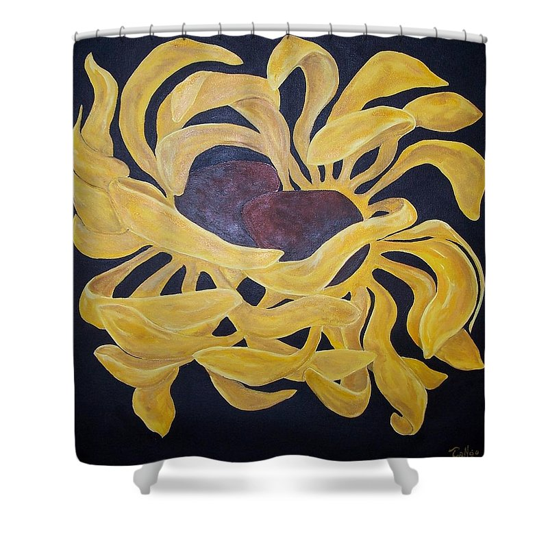 Flower Shower Curtain featuring the painting Embrace by Ron Tango Jr