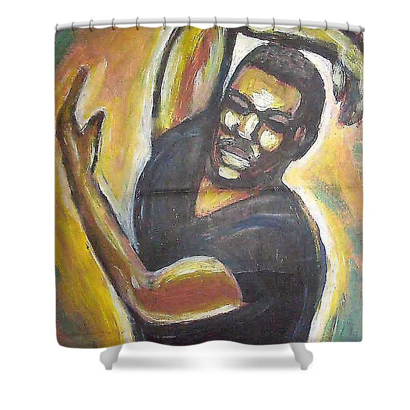 Figure Shower Curtain featuring the painting Embrace The Earth by Jan Gilmore