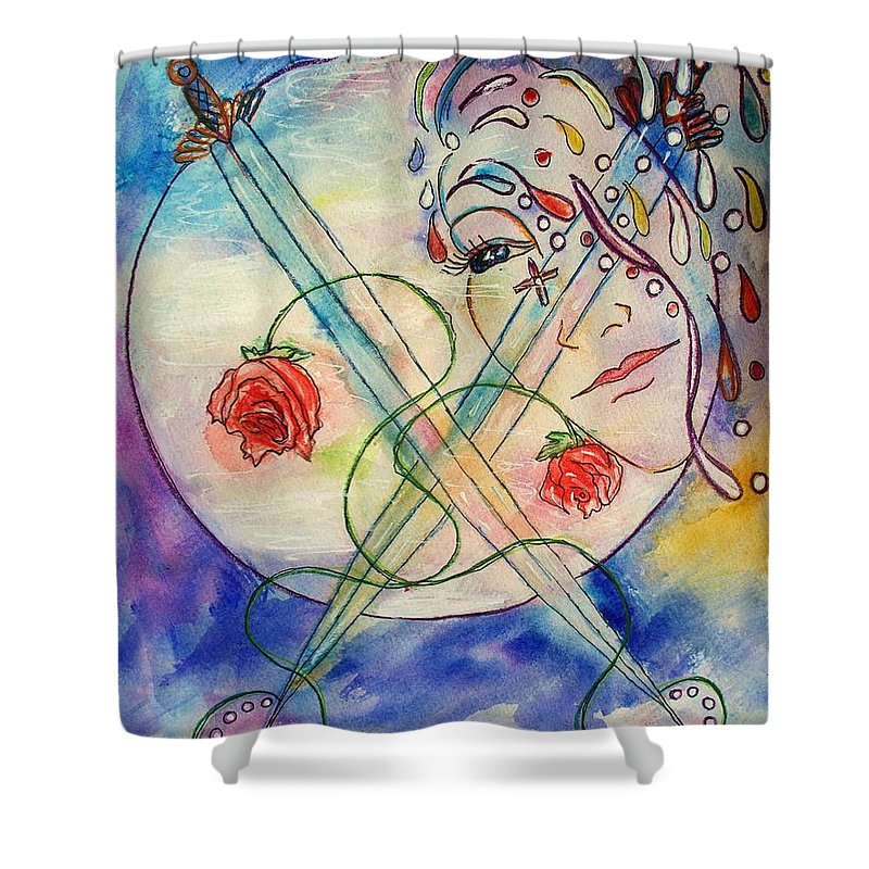 Portrait Shower Curtain featuring the painting Embracing The Mystery by Robin Monroe