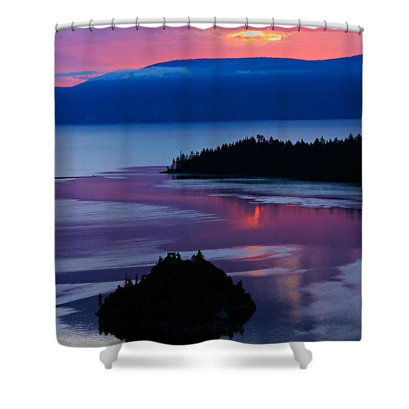 Lake Tahoe Shower Curtain featuring the photograph Emerald Bay Sunrise Portrait by Sean Sarsfield