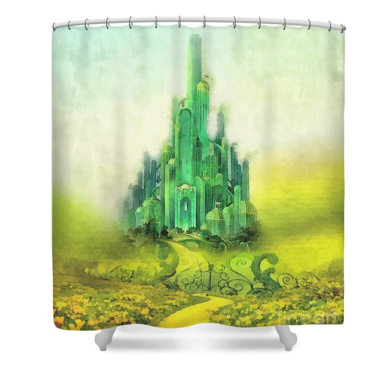 Emerald City Shower Curtain featuring the painting Emerald City by Mo T