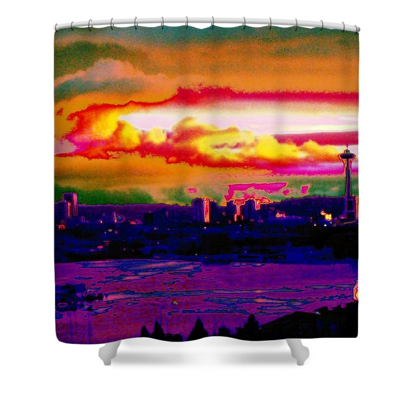 Seattle Shower Curtain featuring the photograph Emerald City Sunset by Tim Allen