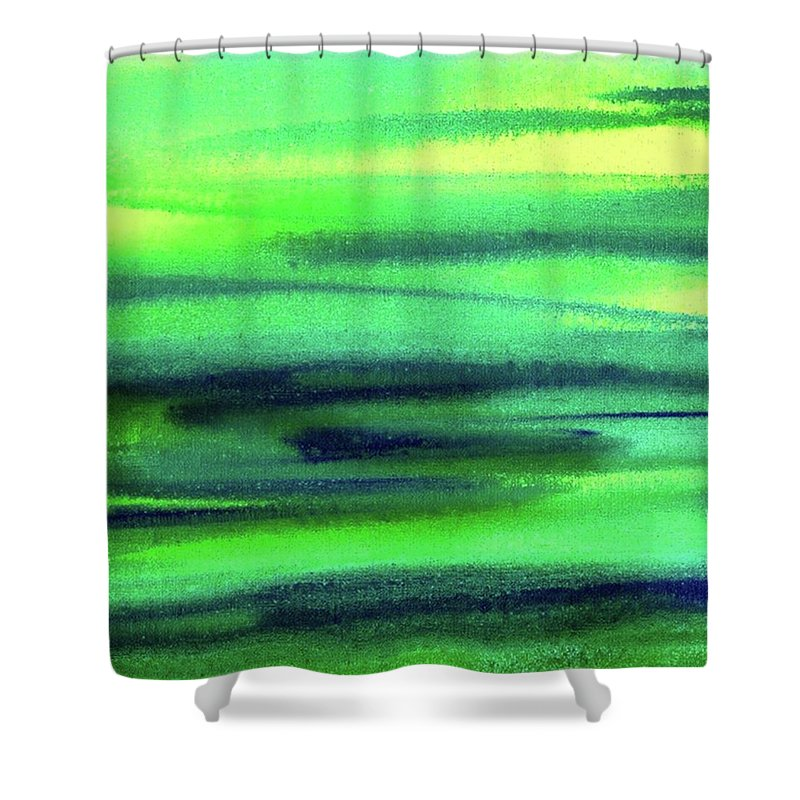 Emerald Shower Curtain featuring the painting Emerald Flow Abstract Painting by Irina Sztukowski