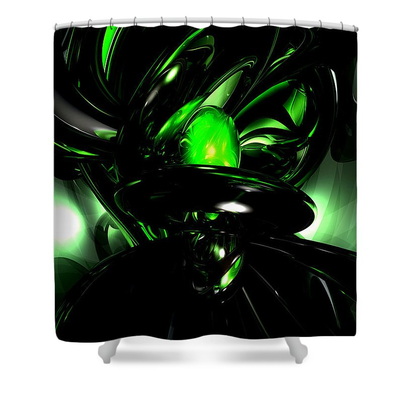 3d Shower Curtain featuring the digital art Emerald Nigthmares Abstract by Alexander Butler