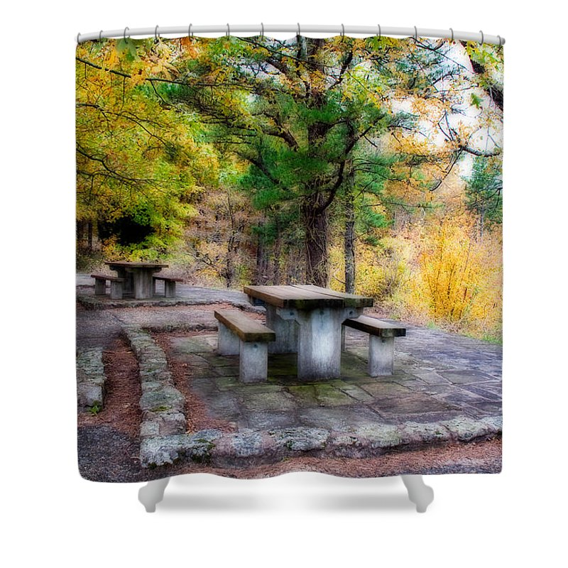 emerald Vista Shower Curtain featuring the photograph Emerald Picnic by Lana Trussell