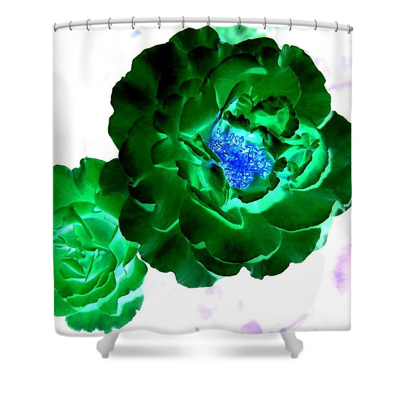 Rose Shower Curtain featuring the digital art Emerald Rose by Will Borden