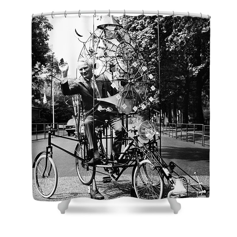 1970 Shower Curtain featuring the photograph Emett: Lunacycle, 1970 by Granger