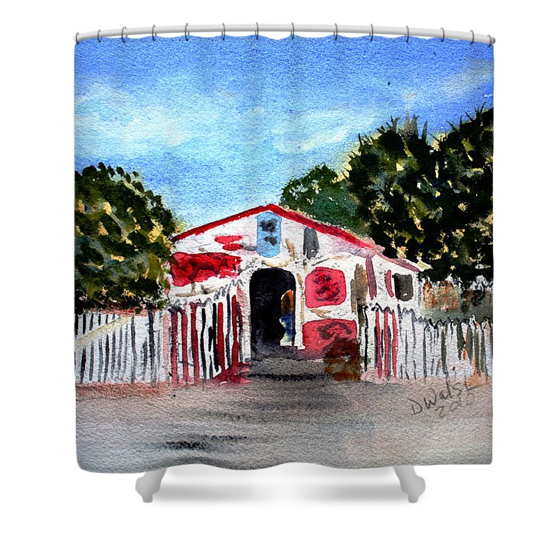 Tropical Shower Curtain featuring the painting Emiles Road Side Grocer by Donna Walsh