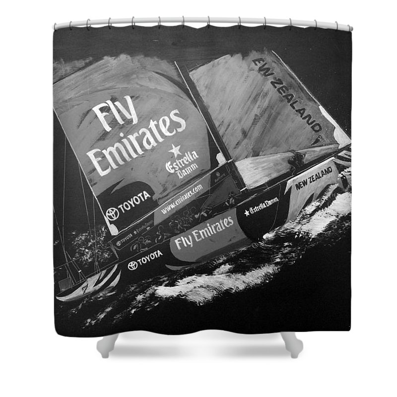 America's Cup Shower Curtain featuring the painting Emirates Team New Zealand by Richard Le Page