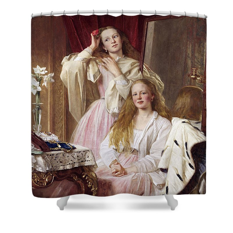Henry Tanworth Wells Shower Curtain featuring the painting Emma And Federica Bankes Of Soughton Hall by Henry Tanworth Wells