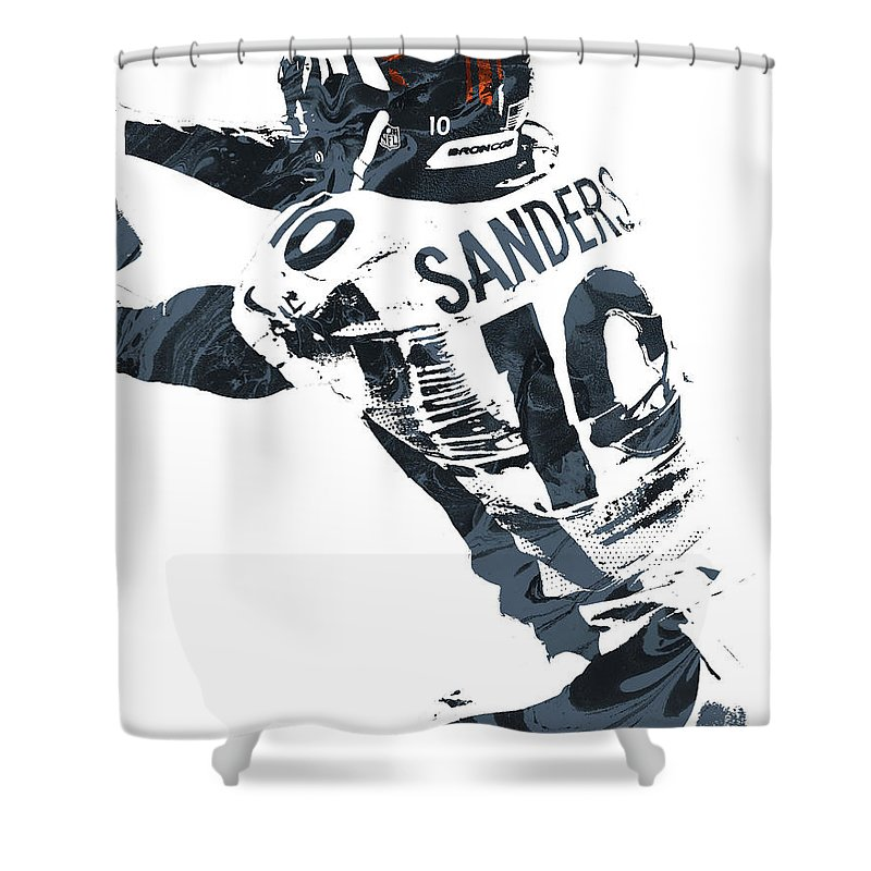 Emmanuel Sanders Shower Curtain Featuring The Mixed Media Denver Broncos Pixel Art By Joe