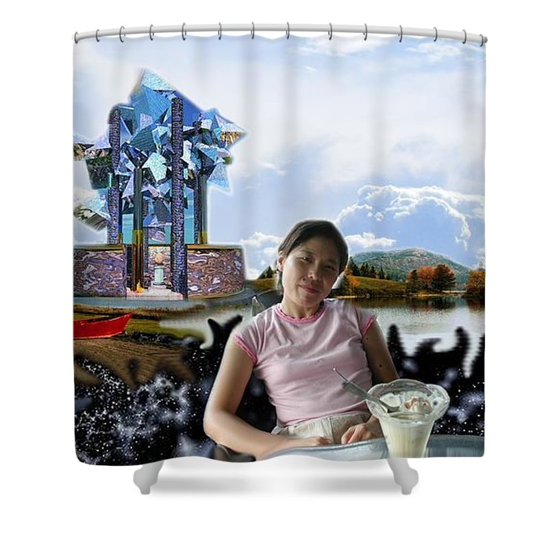 Spacem Maine Shower Curtain featuring the digital art Emma's Afternoon Snack by Dave Martsolf